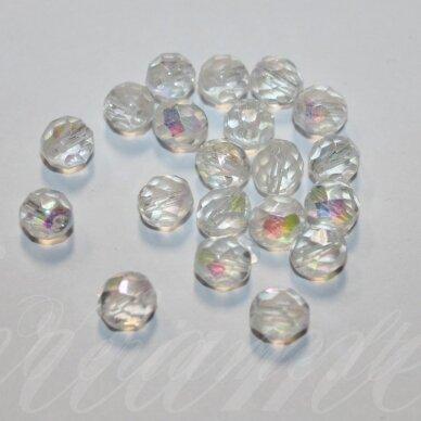stkb00030/28701-08 apie 8 mm, apvali forma, briaunuotas, skaidrus, ab danga, stiklinis karoliukas, 23 vnt.