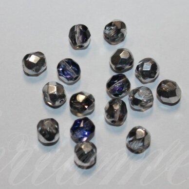 stkb00030/29601-06 apie 6 mm, apvali forma, briaunuotas, skaidrus, mėlyna spalva, sidabrinė spalva, stiklinis karoliukas, apie 44 vnt.