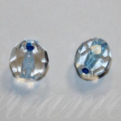 stkb00030/44863-08 apie 8 mm, apvali forma, briaunuotas, skaidrus, viduriukas žydra spalva, stiklinis karoliukas, apie 22 vnt.