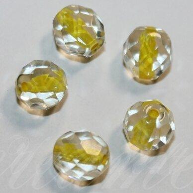 stkb00030/44886-08 apie 8 mm, apvali forma, briaunuotas, skaidrus, viduriukas geltona spalva, stiklinis karoliukas, apie 19 vnt.