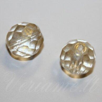 stkb00030/56902-08 apie 8 mm, apvali forma, briaunuotas, skaidrus, gelsva spalva, stiklinis karoliukas, 19 vnt.