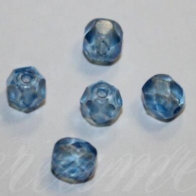 stkb00030/56930-12 apie 12 mm, apvali forma, briaunuotas, skaidrus, mėlyna spalva, stiklinis karoliukas, 6 vnt.
