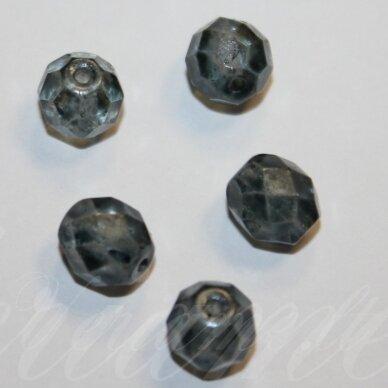 stkb00030/56945-12 apie 12 mm, apvali forma, briaunuotas, skaidrus, melsvai pilka spalva, stiklinis karoliukas, 6 vnt.