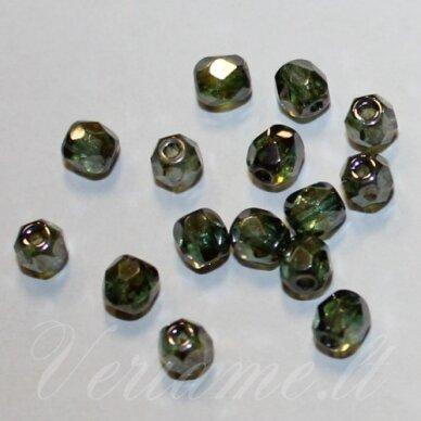 stkb00030/65431-04 apie 4 mm, apvali forma, briaunuotas, skaidrus, žalsva spalva, stiklinis karoliukas, apie 66 vnt.