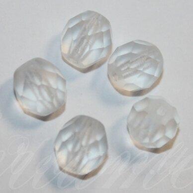 stkb00030/84110-08 apie 8 mm, apvali forma, briaunuotas, matinė, skaidrus, stiklinis karoliukas, apie 23 vnt.