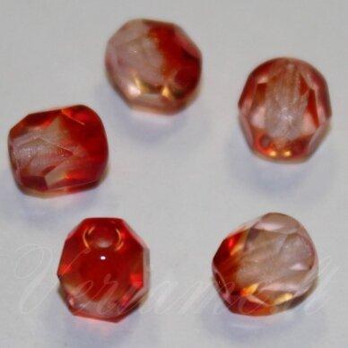 stkb00030/90080-08 apie 8 mm, apvali forma, briaunuotas, skaidrus, raudona spalva, stiklinis karoliukas, apie 23 vnt.