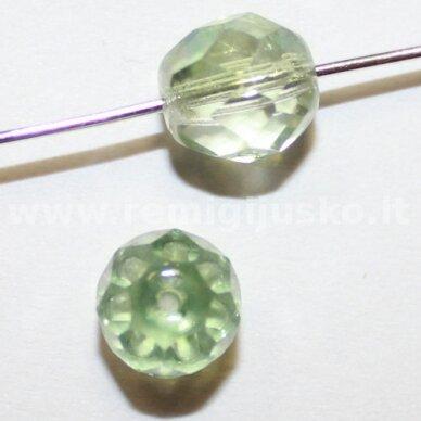 stkb00030/91005-08 apie 8 mm, apvali forma, briaunuotas, skaidrus, žalia spalva, stiklinis karoliukas, 30 vnt.