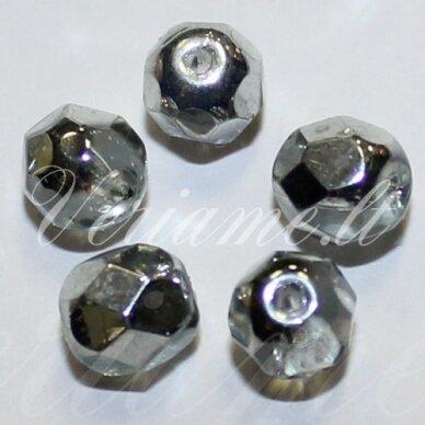 stkb00030/97332-08 apie 8 mm, apvali forma, briaunuotas, sidabrinė spalva, stiklinis karoliukas, 19 vnt.