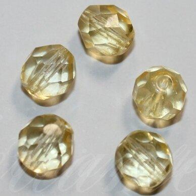stkb00032-14 apie 14 mm, apvali forma, skaidrus, šviesi, gelsva spalva, stiklinis karoliukas, 6 vnt.