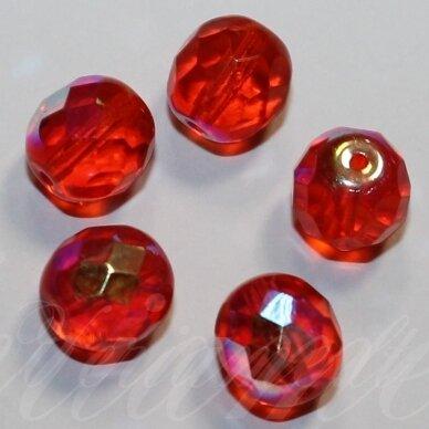 stkb00041-12 apie 12 mm, apvali forma, briaunuotas, šviesi, raudona spalva, ab danga, stiklinis karoliukas, 9 vnt.