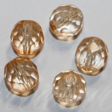 stkb00060-08 apie 8 mm, apvali forma, briaunuotas, skaidrus, persikinis atspalvis, stiklinis karoliukas, 32 vnt.