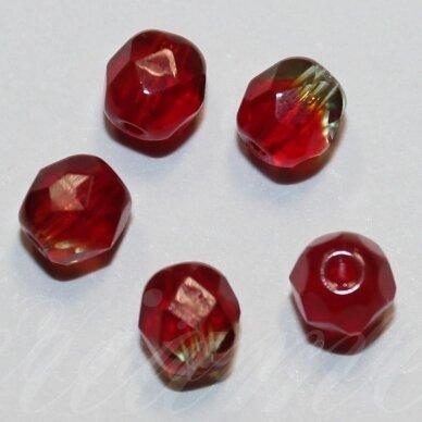 stkb00066-05 apie 5 mm, apvali forma, briaunuotas, skaidrus, gelsva - raudona spalva, marga, stiklinis karoliukas, apie 90 vnt.