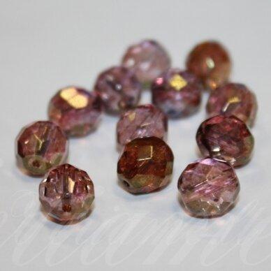 stkb00069-10 apie 10 mm, apvali forma, briaunuotas, skaidrus, rožinė - violetinė spalva, stiklinis karoliukas, 17 vnt.