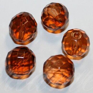 stkb00074-14 apie 14 mm, apvali forma, briaunuotas, rusva spalva, stiklinis karoliukas, 6 vnt.