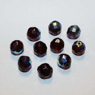 stkb00052-12 apie 12 mm, apvali forma, margas, briaunuotas, stiklinis karoliukas, 8 vnt.