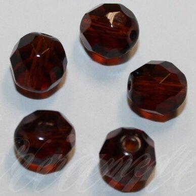 stkb00085-12 apie 12 mm, apvali forma, briaunuotas, tamsi, ruda spalva, stiklinis karoliukas, 9 vnt.