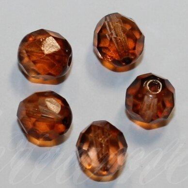 stkb00086-08 apie 8 mm, apvali forma, briaunuotas, pusiau skaidrus, ruda spalva, stiklinis karoliukas, 32 vnt.