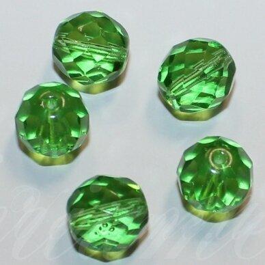 stkb00092-12 apie 12 mm, apvali forma, briaunuotas, žalia spalva, stiklinis karoliukas, 9 vnt.