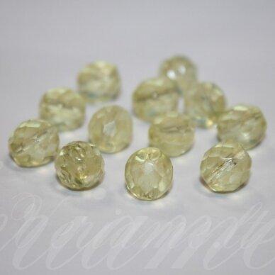 stkb00119-10 apie 10 mm, apvali forma, briaunuotas, skaidrus, geltona spalva, stiklinis karoliukas, 15 vnt.