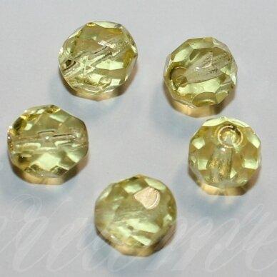 stkb00120-08 apie 8 mm, apvali forma, briaunuotas, skaidrus, geltona spalva, stiklinis karoliukas, 32 vnt.