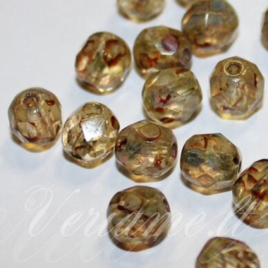 stkb00294-07 apie 7 mm, apvali forma, briaunuotas, ruda spalva, stiklinis karoliukas, 42 vnt.