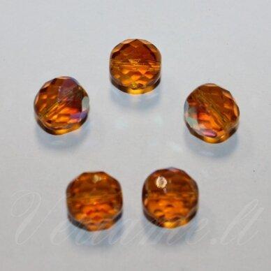 stkb10040/28701-10 apie 10 mm, apvali forma, briaunuotas, rusva spalva, ab danga, stiklinis karoliukas, apie 15 vnt.