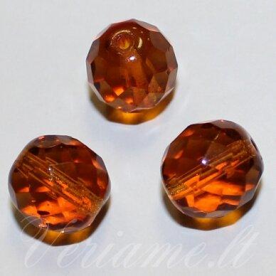stkb10080-20 apie 20 mm, apvali forma, briaunuotas, skaidrus, ruda spalva, stiklinis karoliukas, 2 vnt.