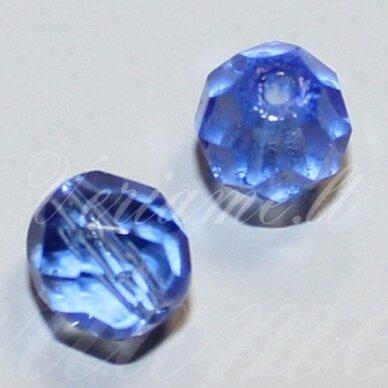 stkb30040-03 apie 3 mm, apvali forma, briaunuotas, skaidrus, mėlyna spalva, stiklinis karoliukas, apie 170 vnt.
