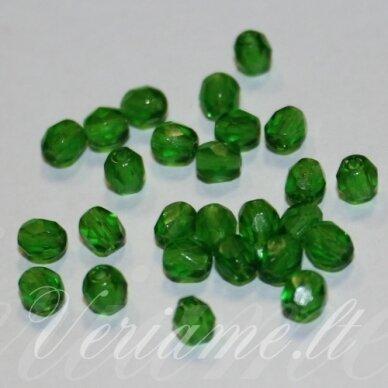 stkb50030-03 apie 3 mm, apvali forma, briaunuotas, skaidrus, žalia spalva, stiklinis karoliukas, apie 130 vnt.