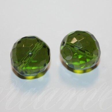 stkb50550-20 apie 20 mm, apvali forma, briaunuotas, skaidrus, žalia spalva, stiklinis karoliukas, 2 vnt.