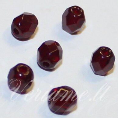 stkb90110-04 apie 4 mm, apvali forma, briaunuotas, tamsi, raudona spalva, stiklinis karoliukas, apie 106 vnt.