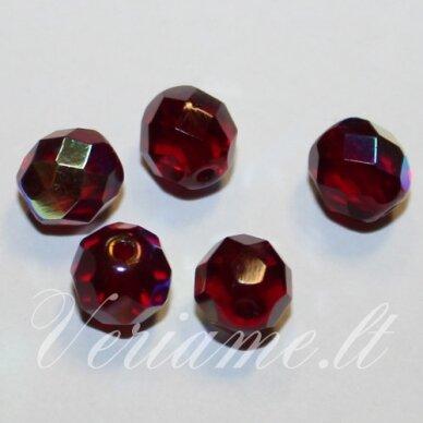 stkb90110/28701-08 apie 8 mm, apvali forma, briaunuotas, tamsi, raudona spalva, ab danga, stiklinis karoliukas, apie 25 vnt.