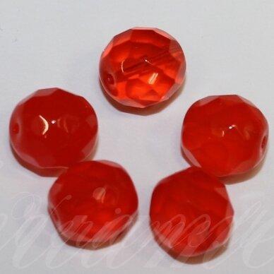 stkb91040-12 apie 12 mm, apvali forma, skaidrus, briaunuotas, oranžinė spalva, stiklinis karoliukas, 10 vnt.