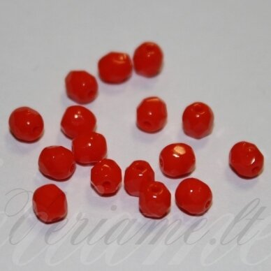 stkb93140-04 apie 4 mm, apvali forma, oranžinė spalva, stiklinis karoliukas, apie 130 vnt.