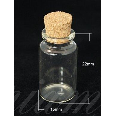 stkbut0001 apie 22x15 mm, stiklinis buteliukas, su kamšteliu, 1 vnt.