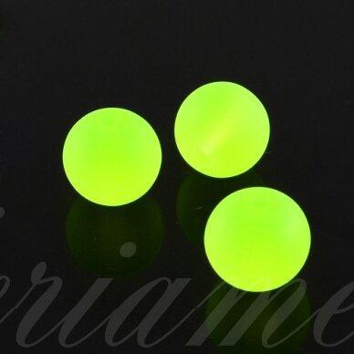 stmat0005-06 apie 6 mm, apvali forma, matinė, neoninė, geltona spalva, stiklinis karoliukas, apie 48 vnt.