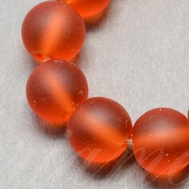 stmat0006-08 apie 8 mm, apvali forma, matinė, oranžinė spalva, stiklinis karoliukas, apie 22 vnt.