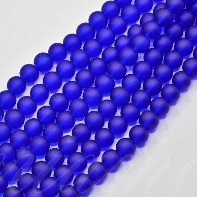 stmat0009-04 apie 4 mm, apvali forma, matinė, tamsi, mėlyna spalva, stiklinis karoliukas, apie 120 vnt.