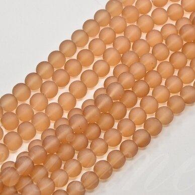 stmat0010-06 apie 6 mm, apvali forma, matinė, ruda spalva, stiklinis karoliukas, apie 48 vnt.