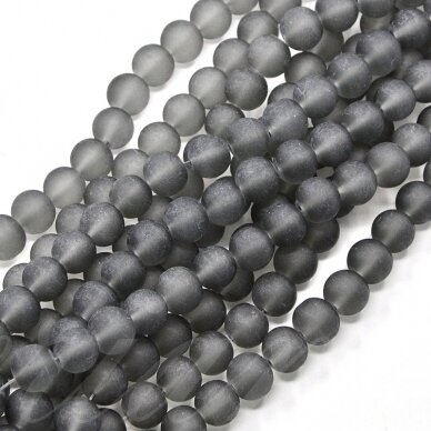 stmat0012-04 apie 4 mm, apvali forma, matinė, pilka spalva, stiklinis karoliukas, apie 120 vnt.