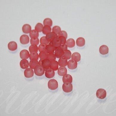 STMAT0013-04 apie 4 mm, apvali forma, matinė, rausva spalva, stiklinis karoliukas, apie 120 vnt.