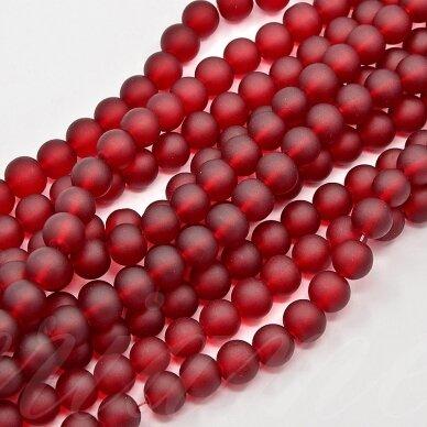 stmat0014-06 apie 6 mm, apvali forma, matinė, raudona spalva, stiklinis karoliukas, apie 48 vnt.
