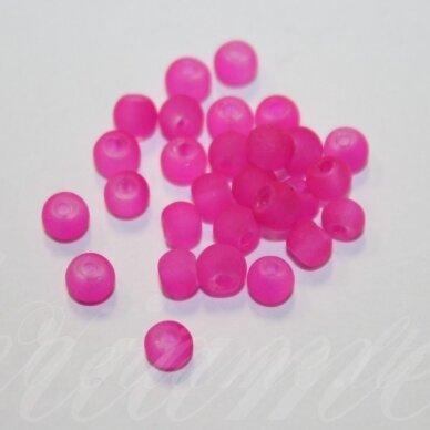 stmat0016-04 apie 4 mm, apvali forma, matinė, rožinė spalva, stiklinis karoliukas, apie 120 vnt.