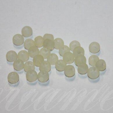 stmat0017-04 apie 4 mm, apvali forma, matinė, gelsva spalva, stiklinis karoliukas, apie 120 vnt.