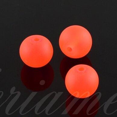 stmat0027-06 apie 6 mm, apvali forma, matinė, neoninė, oranžinė spalva, stiklinis karoliukas, apie 48 vnt.