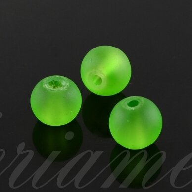 stmat0034-06 apie 6 mm, apvali forma, matinė, neoninė, žalia spalva, stiklinis karoliukas, apie 48 vnt.
