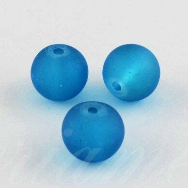 stmat0037-08 apie 8 mm, apvali forma, matinė, mėlyna spalva, stiklinis karoliukas, apie 22 vnt.