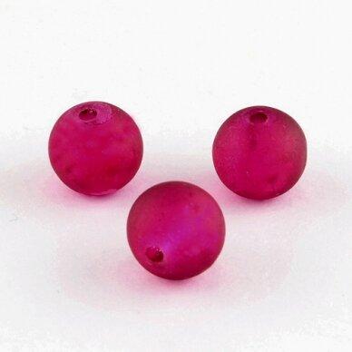 stmat0039-06 apie 6 mm, apvali forma, matinė, tamsi, rožinė spalva, stiklinis karoliukas, apie 46 vnt.