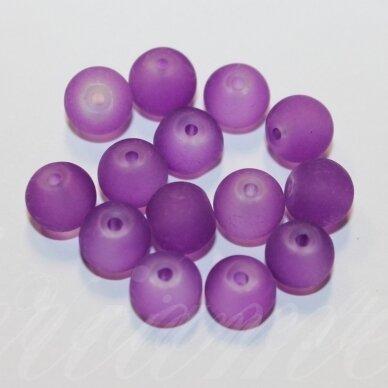 stmat0041-04 apie 4 mm, apvali forma, matinė, violetinė spalva, stiklinis karoliukas, apie 116 vnt.