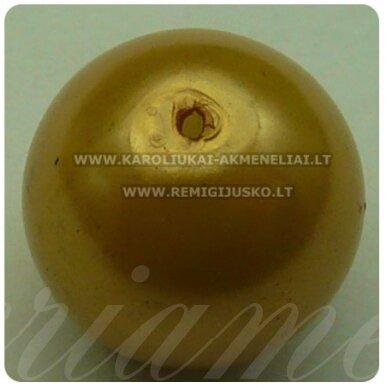 stperl0011-14 apie 14 mm, stiklinis perliukas, smėlio spalva, 6 vnt.
